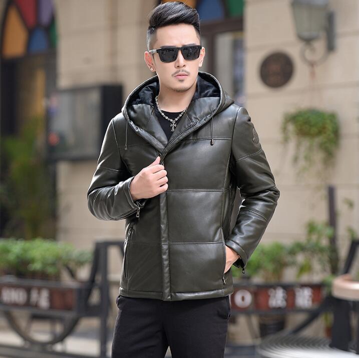 2019 Мужская зимняя новая кожаная куртка пуховик Мужская короткая тонкая кожаная куртка с капюшоном Корейская Молодежная Повседневная модна