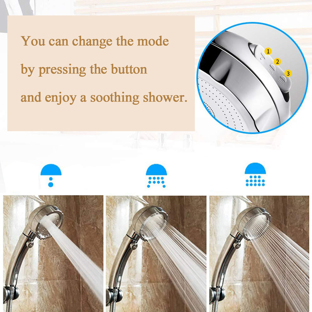 Zhang Ji ABS electroplated finishes 3 adjustable Modes Water Saving SPA Shower head High Pressure Bathroom Handheld Shower head