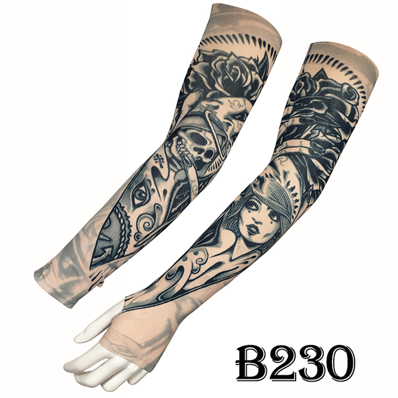 Unisex Sunscreen Ice Sleeve Anti-UV Fake Tattoo Arm With Fingers No Finger Models Bicycle Riding Printing Sunscreen Good Quality
