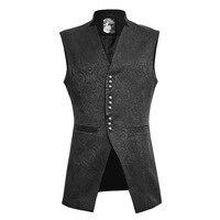 Steampunk Gothic Stand up V Collar Vest Men's Black Color British Style Vest Coat Slim Fit Luxury Flowers Printed Vest Business