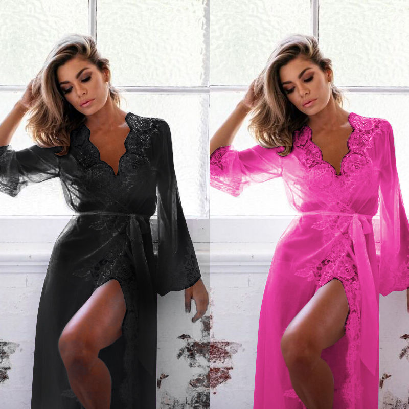 <font><b>Sexy</b></font> Lace <font><b>Lingerie</b></font> Women's Sleepwear Lace Robe Nightwear G-string Dress Babydolls Erotic <font><b>Transparent</b></font> Collar Chemises image