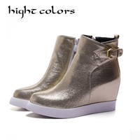 2015 Fashion Sequined Cloth Side Zipper Martin Boots For Women Gold Silver Black Pointed Toe Elevator