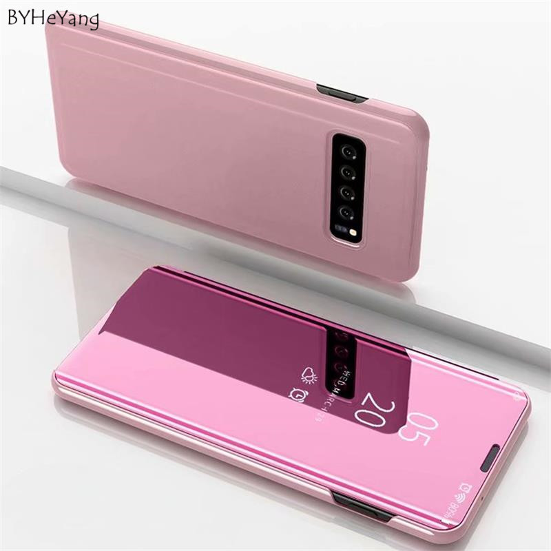 <font><b>Mirror</b></font> <font><b>Flip</b></font> Phone <font><b>Case</b></font> For <font><b>Samsung</b></font> Galaxy S10E <font><b>S10</b></font> Plus Edge Clear View Cover For <font><b>Samsung</b></font> <font><b>s10</b></font> s10e <font><b>s10</b></font>+ Stand <font><b>Case</b></font> fit on s 10 image