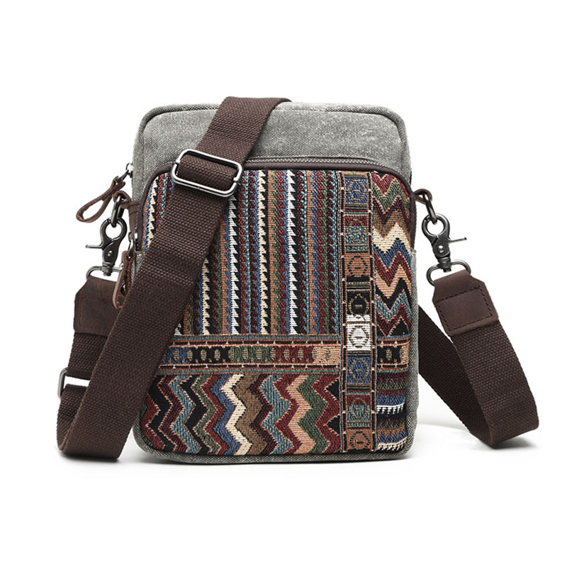 Classical Men & Women Canvas Crossbody Bag With Embroidery Leather European Style Casual Shoulder Bags For School & Travel G070 casual canvas women men satchel shoulder bags high quality crossbody messenger bags men military travel bag business leisure bag
