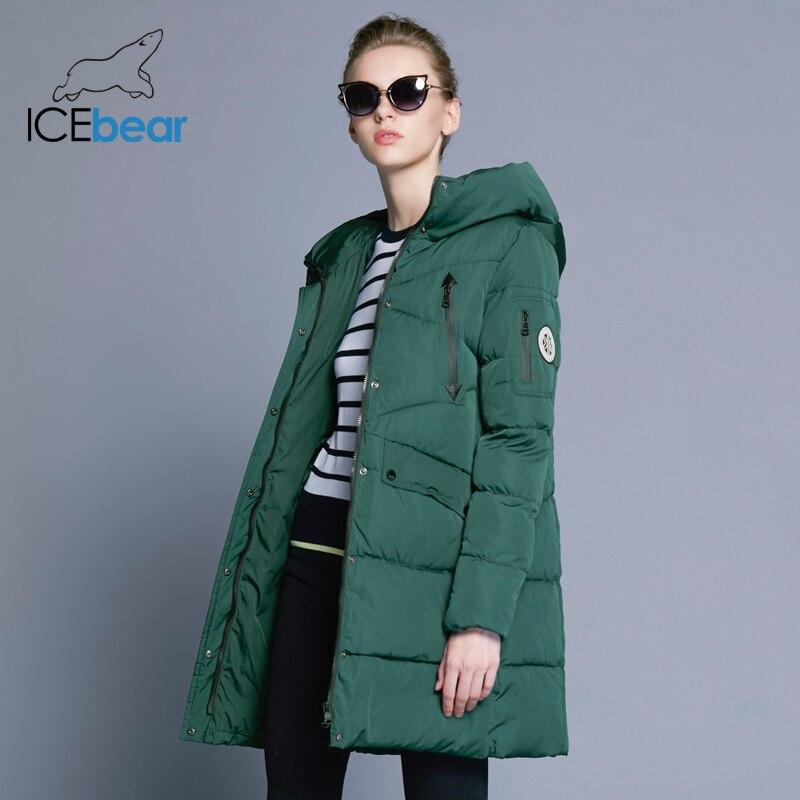 ICEbear 2018 100% Polyester Doux Tissu Bio Vers Le Bas Cinq Couleurs À Capuche Manteau Femme Vêtements D'hiver Veste Avec Poches 16G6155D