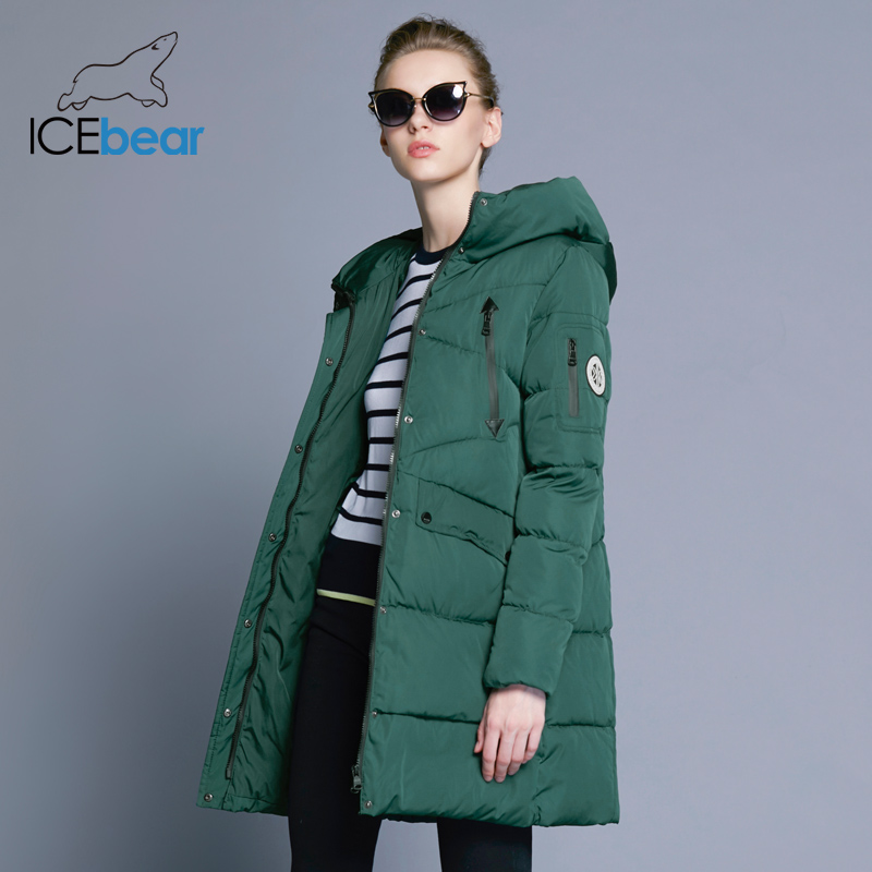 Icebear 2018 100% Polyester Mushy Material Bio Down 5 Colours Hooded Coat Girl Garments Winter Jacket With Pockets 16G6155D