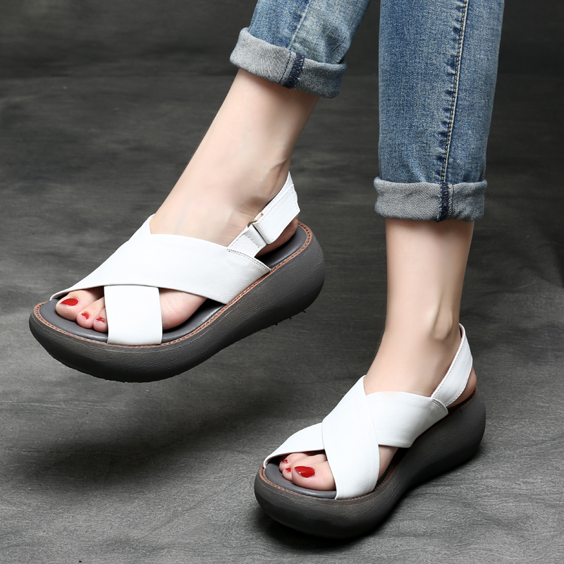 Tyawkiho Genuine Leather Women Sandals 2018 Casual Black Summer Shoes 6 CM High Heels Sandals Soft