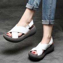 7c249b6a Tyawkiho sandalias de cuero genuino para mujer 2018 zapatos de verano  negros informales 6 CM sandalias de tacones altos zapatos .