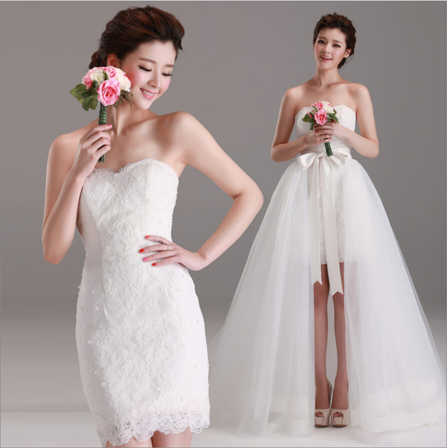 Real Photo Detachable Removable Skirt Wedding Dress 2 In 1