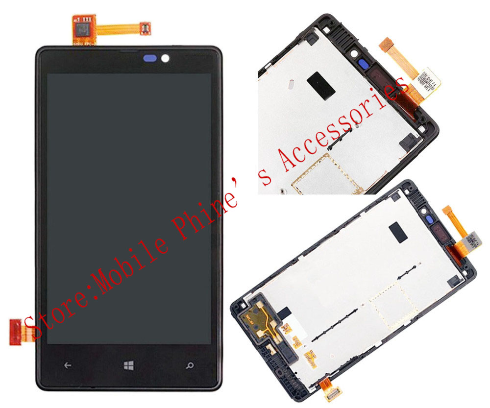 ФОТО Hot 100% test LCD Display Touch Digitizer Screen Assembly with front housing Frame For Nokia Lumia 820 Black +Tools