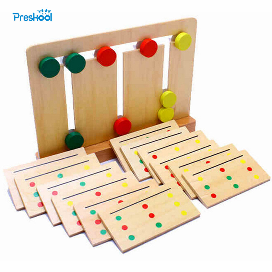 Baby Toy Montessori Wooden Toy Teaching Three Color Sorting Array Game for Early Childhood Education Preschool Training Learning montessori educational wooden toy scale funny toy wooden balance game baby early developme learning blocks