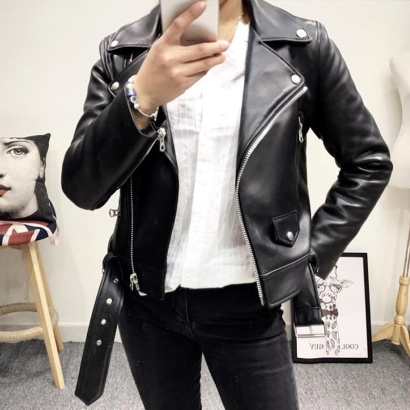 Ailegogo New Women Black Faux Leather Jacket Casual Zipper Turn-down Collar Basic Coat Slim Belt Pu Leather Jackets Female