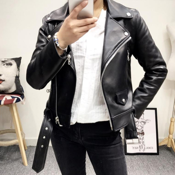 2020 women leather blazers and jackets plus size 5xl elegant turn down collar soft pu leather coat women black leather jacket Ailegogo New Women Black Faux Leather Jacket Casual Zipper Turn-down Collar Basic Coat Slim Belt Pu Leather Jackets Female