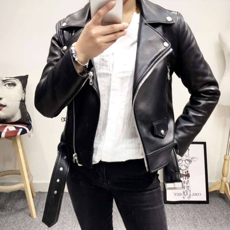 Ailegogo New Women Black Faux   Leather   Jacket Casual Zipper Turn-down Collar Basic Coat Slim Belt Pu   Leather   Jackets Female