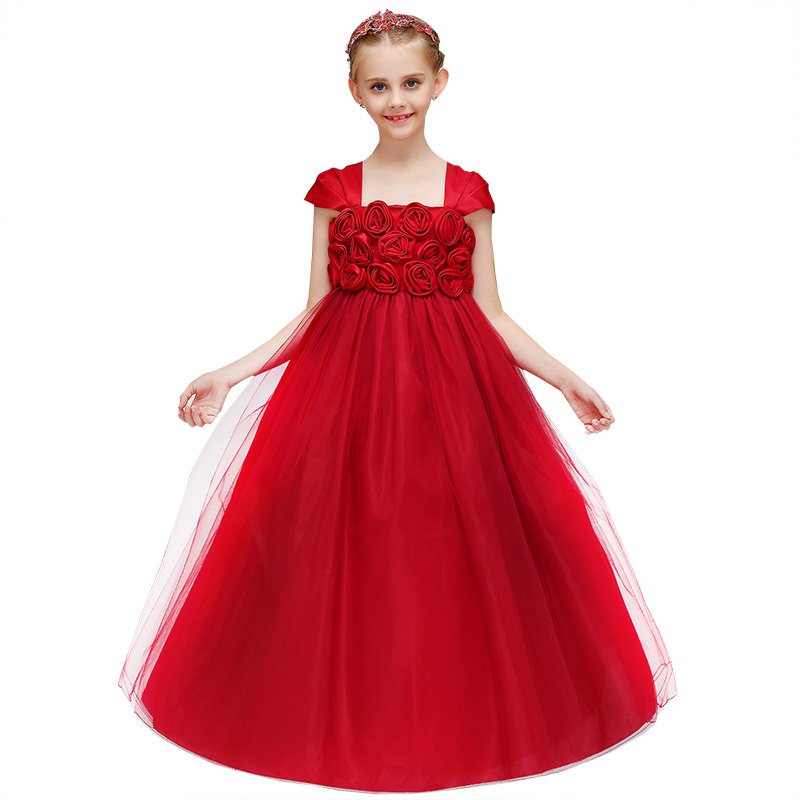 Retail Noble High Quality Floral Elegant   Flower     Girls     Dress   With Ruffled Mesh   Girls   Princess Summer Party Long Prom   Dress   LP-71