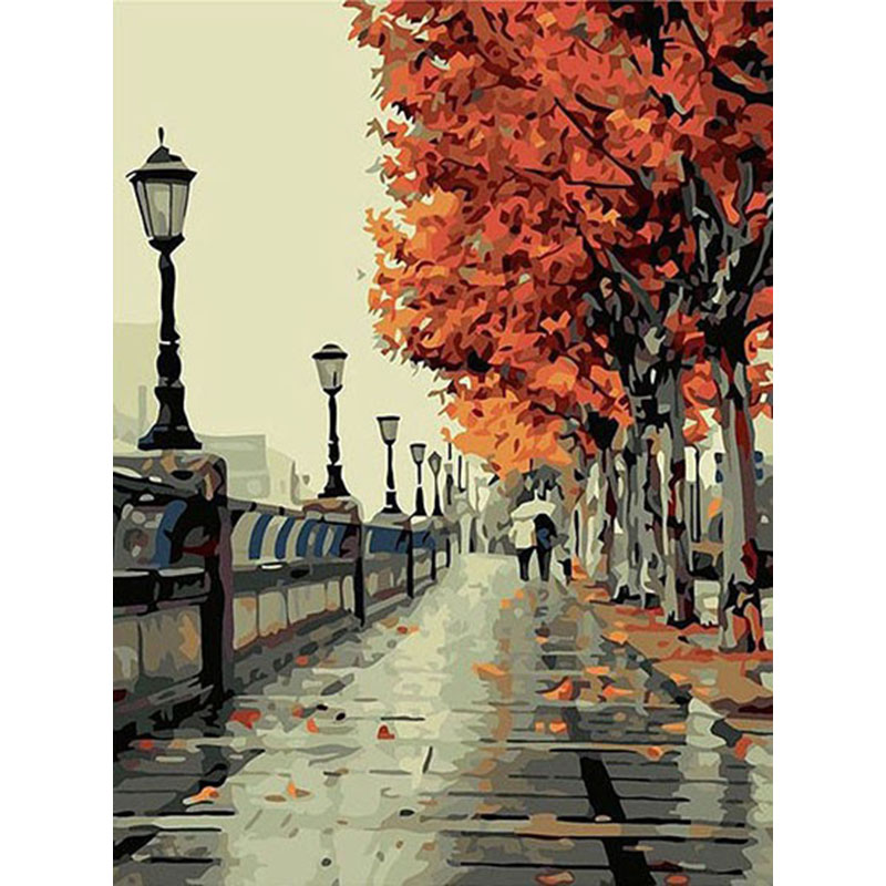 ArtSailing light in the Park DIY Hand Painting By Numbers Oil Painting On Canvas christmas pendant Gift For Home Decor-NP-024