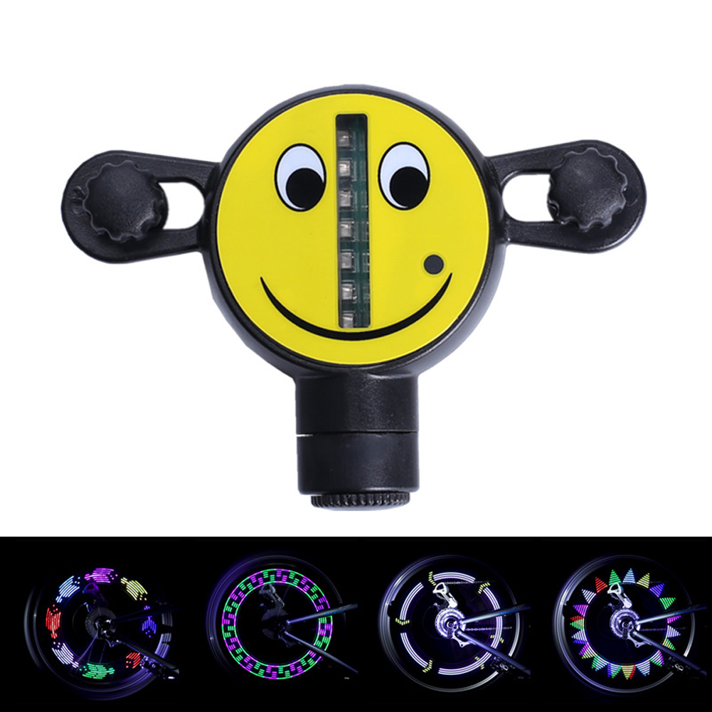 1Pcs 14 LED Colorful Motorcycle Bicycle Wheel Light Bike Signal Tire Spoke Smile Light 30 Changes Colorful Cycling Accessories