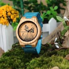 בובו ציפור במבוק שעון גברים מיוחד עיצוב כמו בחיים UV הדפסת חיוג פנים עץ שעון יד relogio masculino שעונים מתנה