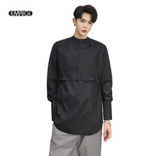 EMAIGI Men Retro Casual Long Sleeve Pullover Male Japan Gothic Style Stand Collar