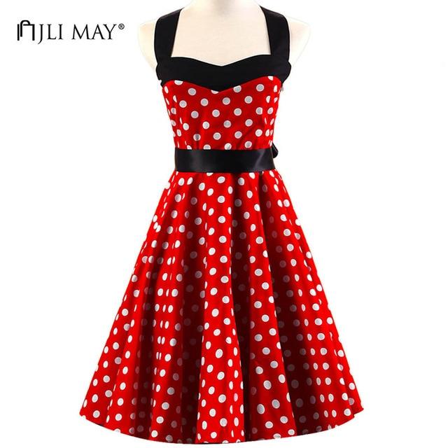 JLI MAY Women dot vintage dress elegant summer sundress 50s rockabilly  hepburn red strapless pinup sleeveless Hhalter dresses 3258046d216a
