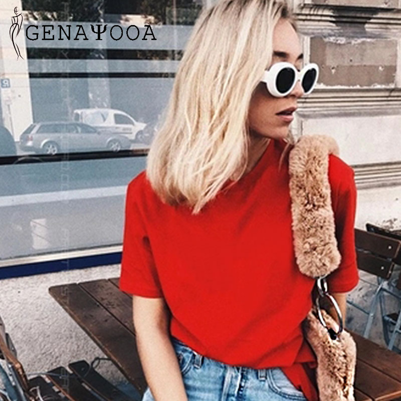 Genayooa 100% Cotton T-Shirts White O Neck Tshirt Cotton Women Solid Summer 2019 Black Woman Short Sleeve Tees Tops Red Harajuku