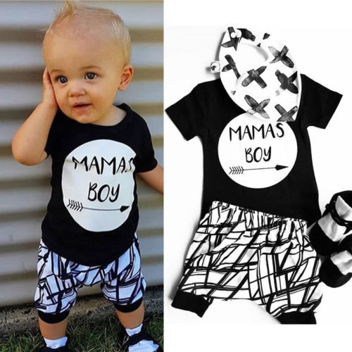 feeea356b82 2018 New Summer 2Pcs Baby MAMAS Boy Toddler Cotton Black T-shirt Short  Sleeve Tops+Shorts Pants Newborn Toddler Outfit Clothes