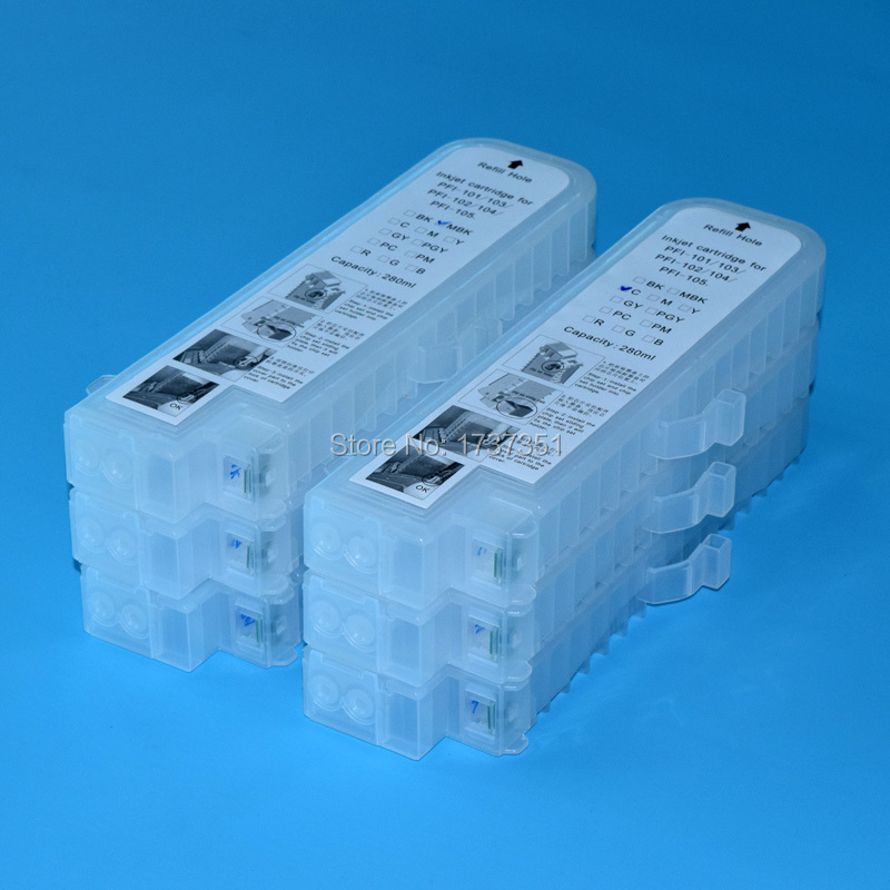 280ml 6 color ink cartridge with chip for Canon PFI 102 PFI 104 for Canon ipf 650 ipf655 ipf750 ipf755 ipf760 ipf765 printer 12 p refillable ink cartridge pfi 106 for canon ipf6400 ipf6460 ipf6410s ipf6410se printer can use for your original chip