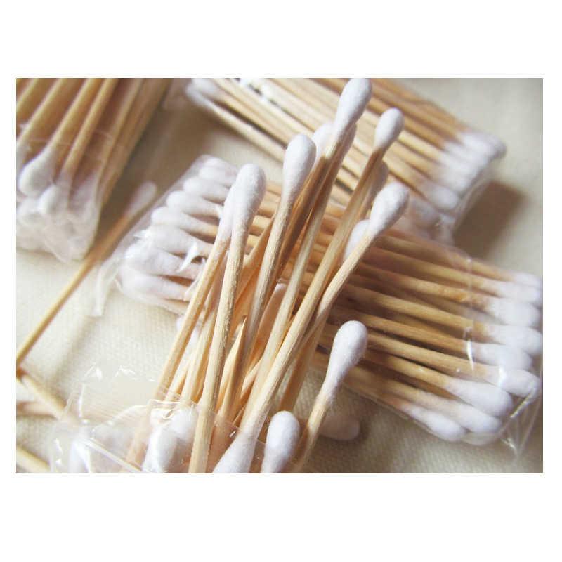 30 個ダブルヘッド綿棒女性メイクアップの綿棒先端健康ケアツール医療スティック鼻耳クリーニング