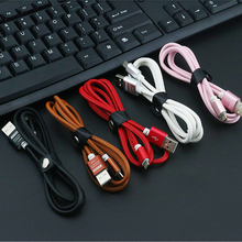 10pcs 1 M Leather  alloy Micro USB Cable for Andriod device iPh 7 6s Fast Charge & Sync Data cable 2.0A