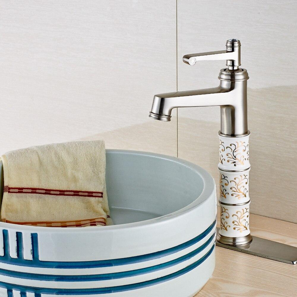 Uythner Modern Fashion Tall Brushed Nickel Bathroom Faucet Single ...