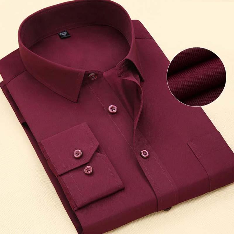 Fashion Brand Shirt Men Long Sleeve Spring Solid Color Business Office Formal Men Dress Shirt Plus Size Male Shirt Chemise 7XL