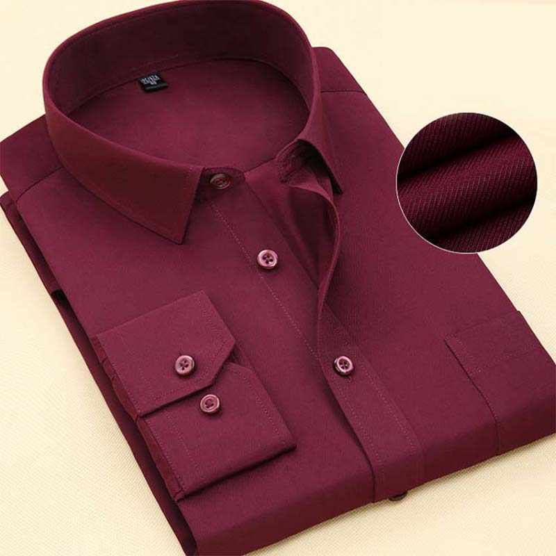 Mannen Lange Mouwen 2019 Lente Nieuwe Merk Effen Kleur Business Kantoor Formele Mannen Dress Shirt Plus Size Mannelijk Overhemd chemise 7XL