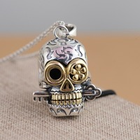 Pure 925 Sterling Silver Skull Pendant Vintage 925 Solid Thai Silver Skeleton Key pendant Fit Original Necklace DIY Jewelry Gift