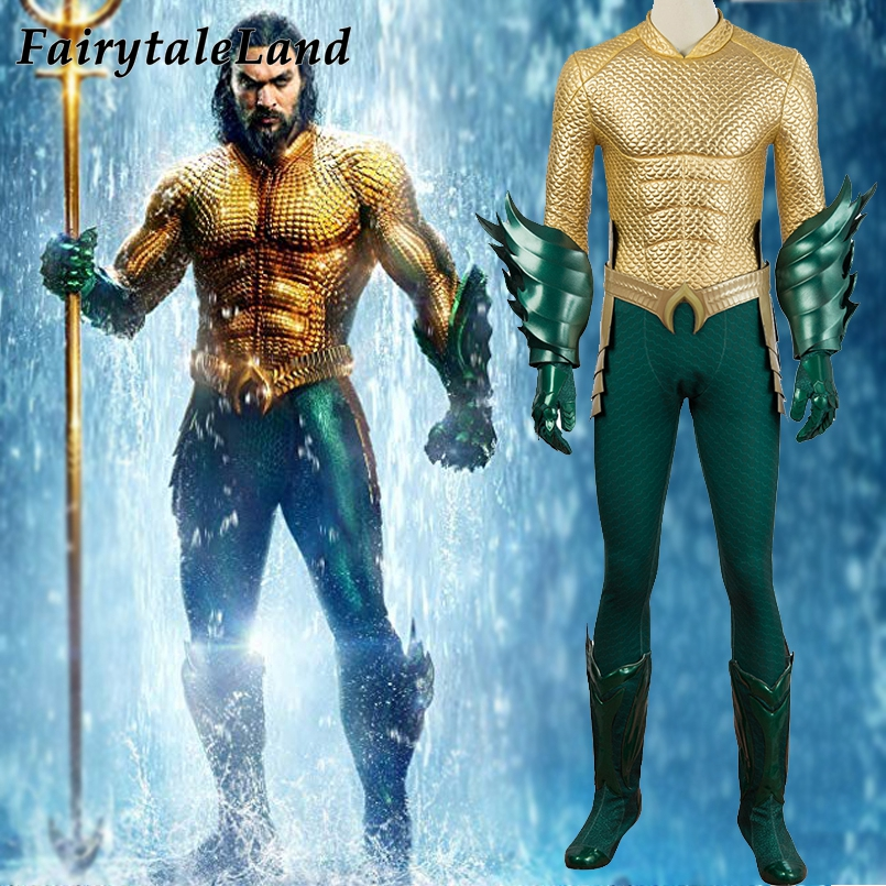 Movie Aquaman Costume Carnival Halloween Costume Cosplay Arthur Curry Costume Fancy Costume Aquaman Jumpsuit Custom Made