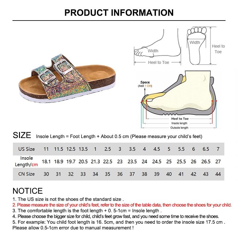 2019 New Kids Slippers Summer Beach Children Cork Sandals Bling Sequins For Family Shoes Leopard Barefoot Flats Girls Slipper