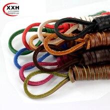 XXH 1 Pair 10 color  Length 60CM-200CM Genuine Cowhide Square Shoelaces Boat Doug Shoes Shoelaces Retro Leather Boots Shoestring