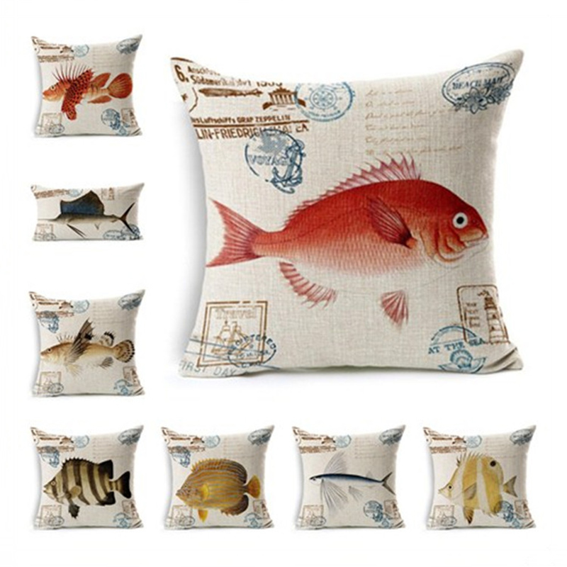 Creative Pillowcase Sea Fish Cushion Cover Square Pillow Case For Sofa Home Decor F