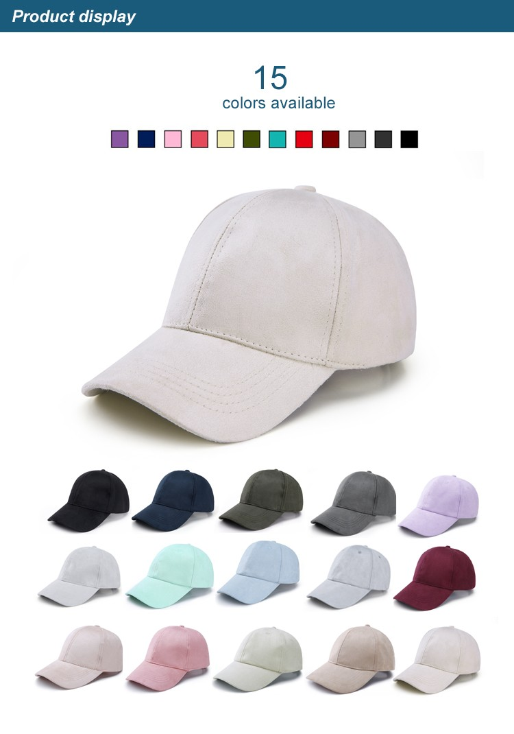 WEARZONE Unisex Soft Suede Baseball Cap Casual Solid Sports Hat Adjustable Breathable Dad Hats for Women Men 6