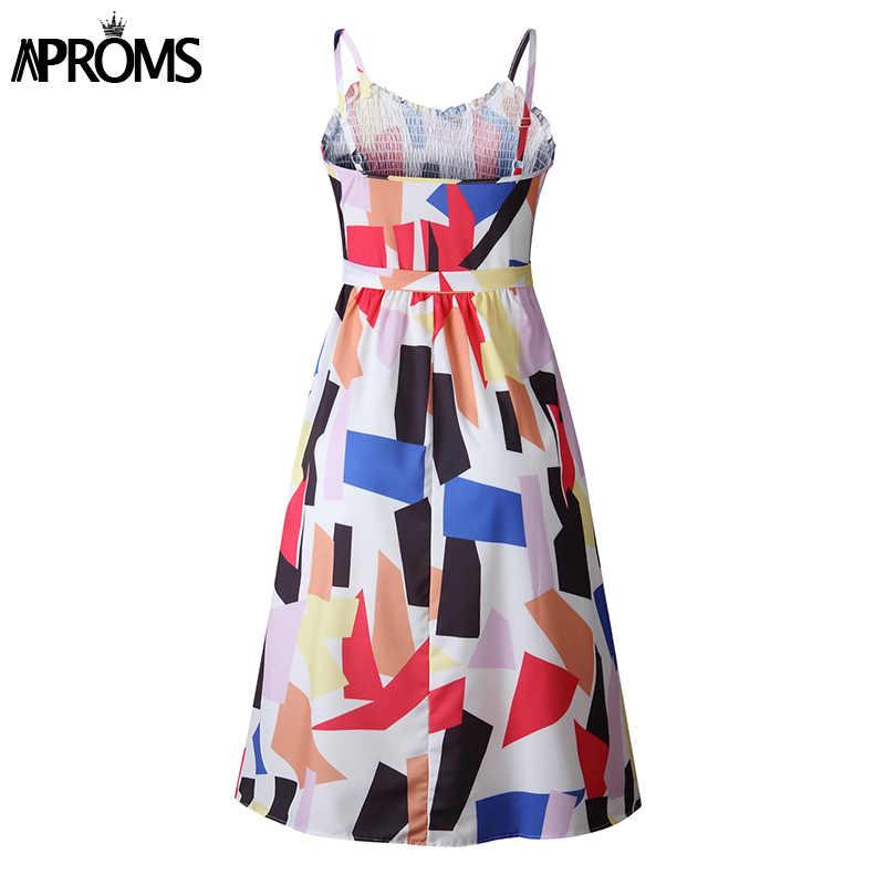 Aproms многоцветное летнее платье миди с принтом женское 2019 без рукавов на бретелях А-силуэта тонкое платье повседневное уличная Сарафаны Vestido
