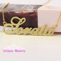 925 Solid Silver Gold Color Handmade Nameplate Silver Necklace Customized Pendent Jewelry Link Chain