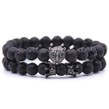 Volcanic Stone Energy Chain 8MM Leopard Head Personality Bracelet Hot Sale Party Jewelry Gift