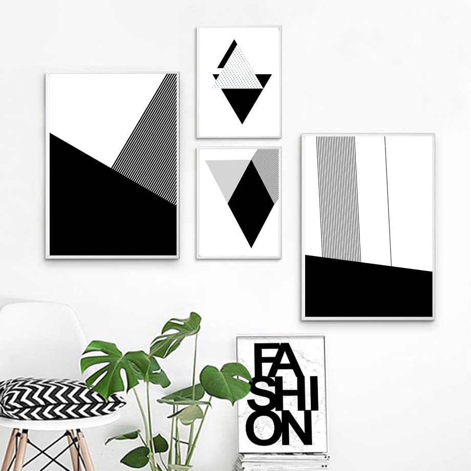 Nordic Minimalism Abstract Black White Geometry Wall Art Canvas Posters And Prints Canvas Painting Wall Pictures For Living Room