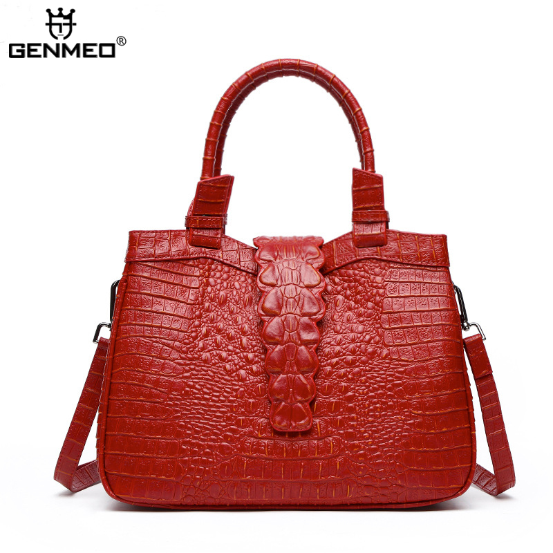 New Arrival Genuine Leather Women's Handbag Real Leather Crocodile Cow Leather Luxury Bags Famous Brand Sexy Ladies Shoulder Bag aetoo the new oil wax cow leather bags real leather bag fashion in europe and america big capacity of the bag
