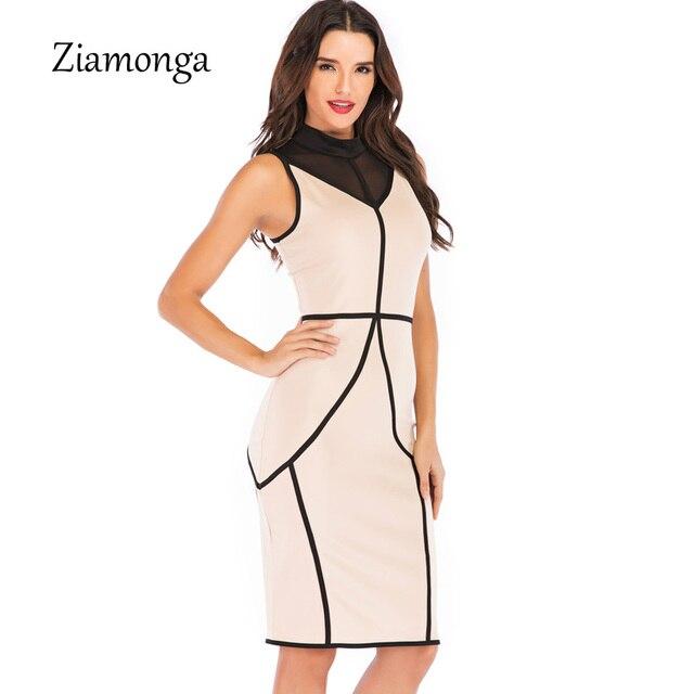 Ziamonga Elegant Women Dress 2019 New Fashion Summer Striped Mesh Patchwork Bodycon Bandage Dress Sexy Midi Casual Party Dresses