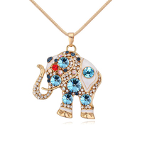 2017 New Pendant Necklaces Of Women Gold Plated Austria Crystal Sweater Chain Thailand Elephant