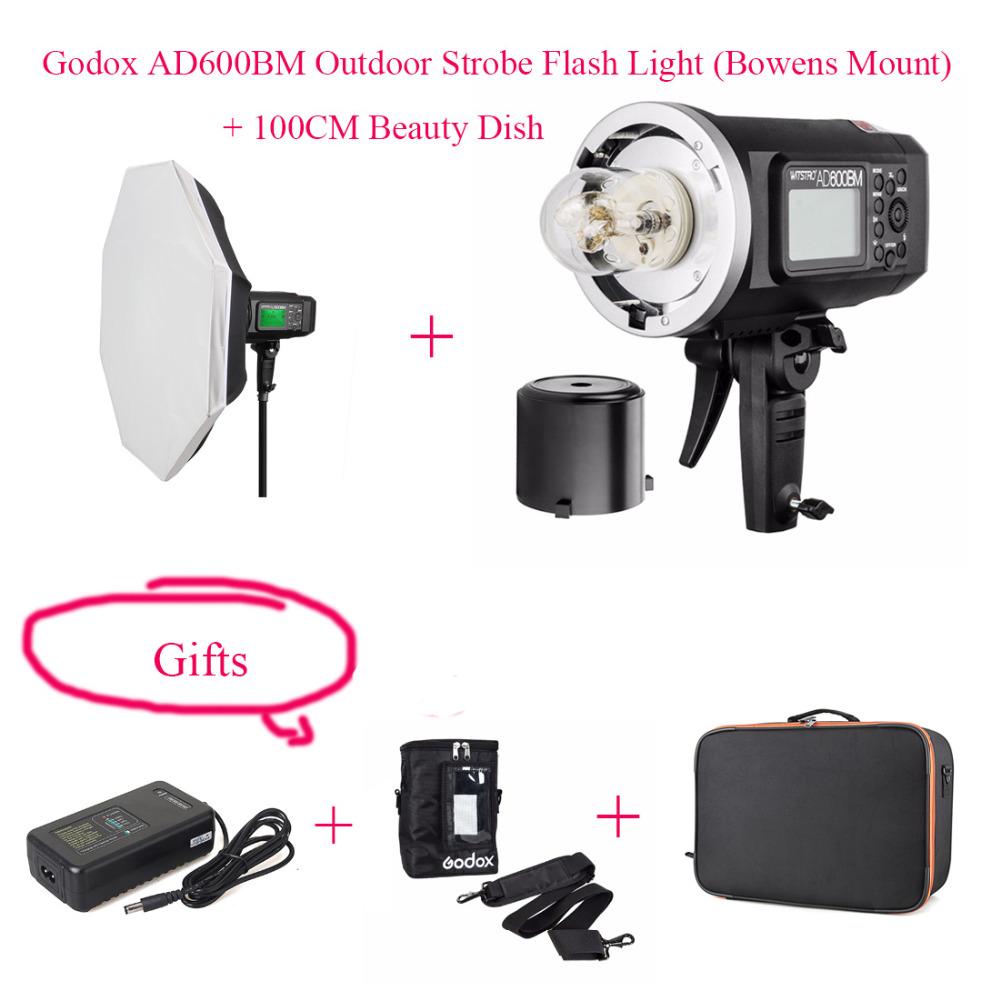 Godox AD600BM HSS 1/8000s 600W GN87 Outdoor Flash Light (Bowens Mount) + Battery + 100CM Beauty Dish + Charger for Canon Nikon