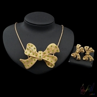 Yulaili 2017 Free Shipment Bow Knot Design Gold Color Top Quality Necklace Earrings Two Jewelry Sets