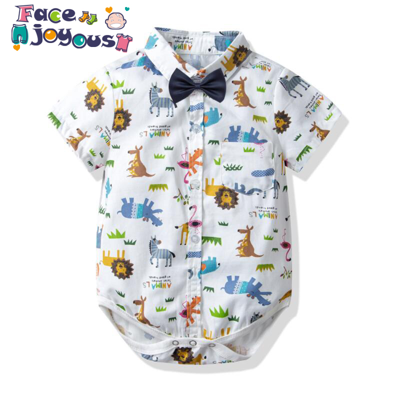 2019 Baby Boy   Rompers   Kid Gentleman Suspenders Tie Bow Boys Clothes Summer First 1st Birthday White   Romper   Infant Print Jumpsuit