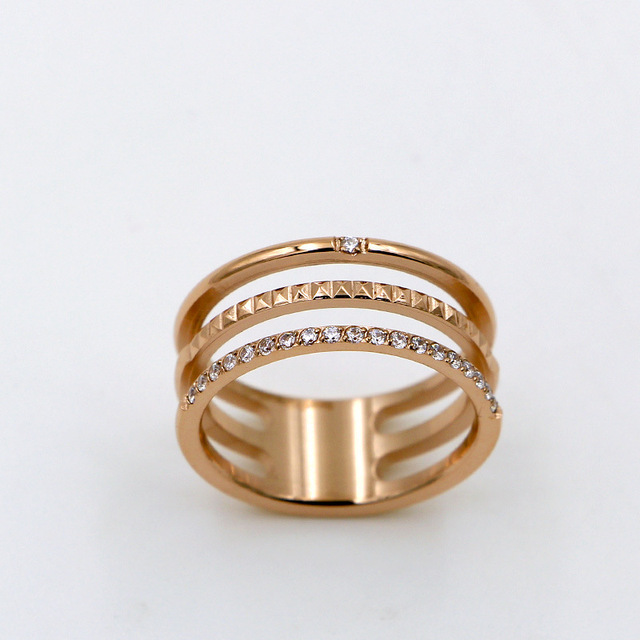New 3 multi layer rings for women anelli ringen sale Rose gold