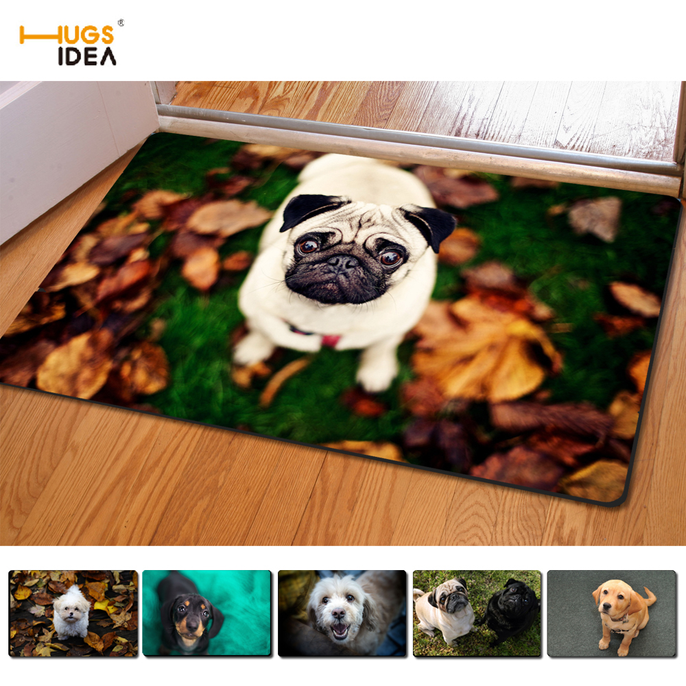 HUGSIDEA Non-slip Home Carpet for Bedroom Living Room Kitchen <font><b>3D</b></font> Creative Animal Pug Dog Pattern <font><b>Tapetes</b></font> Rugs 40*60cm Doormat image